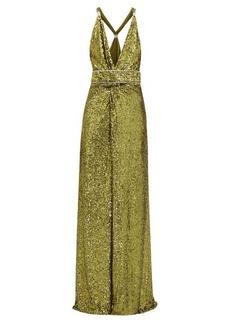 Dundas Side-slit crystal-embellished sequinned dress