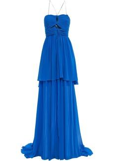 Dundas Woman Cutout Ruched Silk-georgette Gown Cobalt Blue