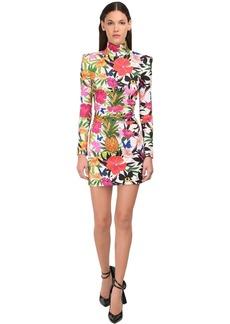 Dundas Floral Print High Neck Mini Dress