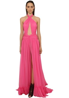 Dundas Georgette Long Dress W/ Cut Outs