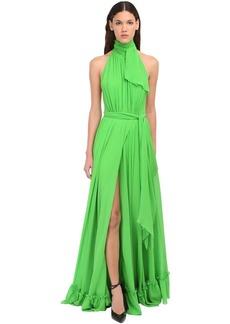 Dundas Halter Neck Silk Satin Long Dress