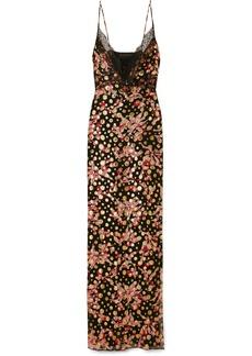 Dundas Lace-trimmed fil coupé silk-blend chiffon maxi dress
