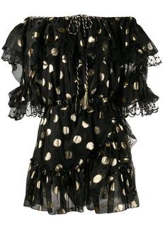 Dundas off-shoulder polka dot dress