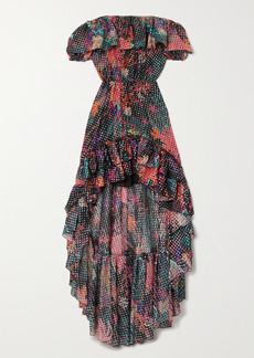 Dundas Off-the-shoulder Ruffled Printed Metallic Fil Coupe Silk-blend Georgette Dress
