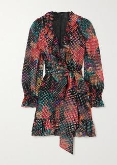Dundas Ruffled Wrap-effect Metallic Fil Coupe Silk-blend Georgette Mini Dress