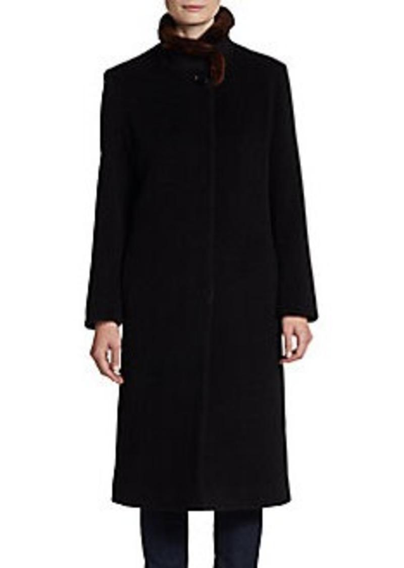 Cinzia Rocca DUE Fur-Collar Wool/Cashmere Coat