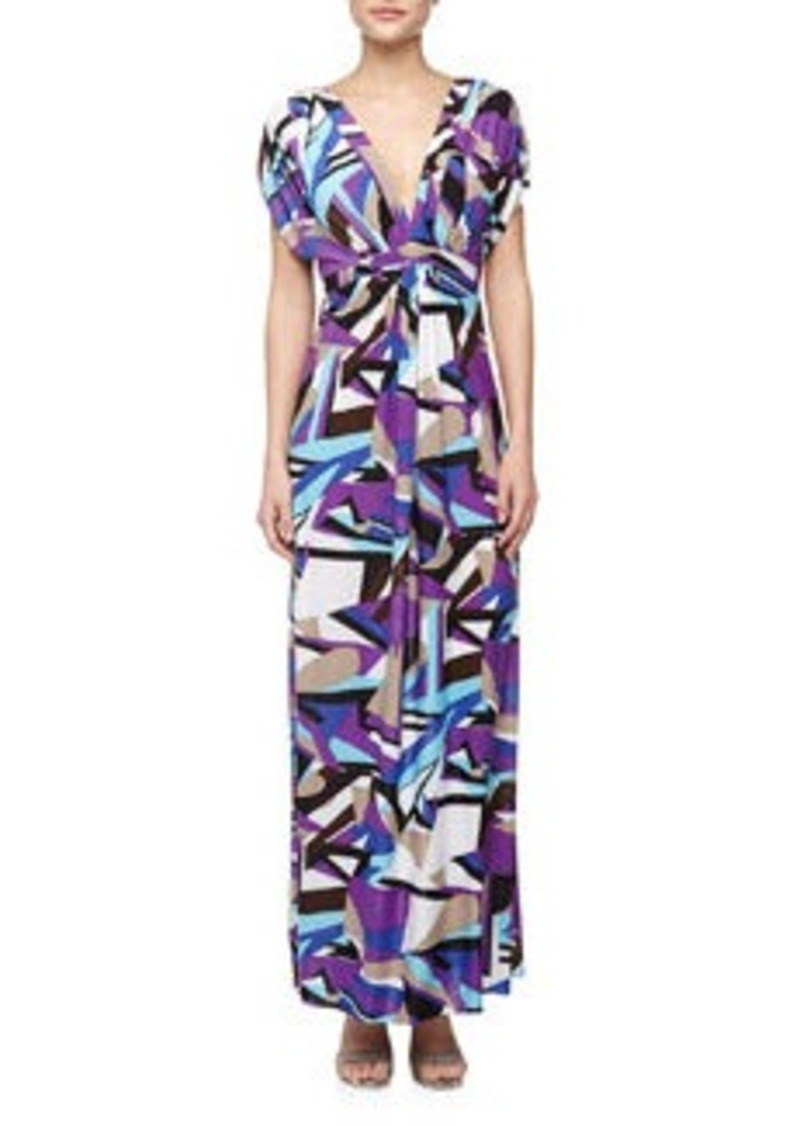 T-Bags T Bags Geometric Print Mirrored V Maxi Dress