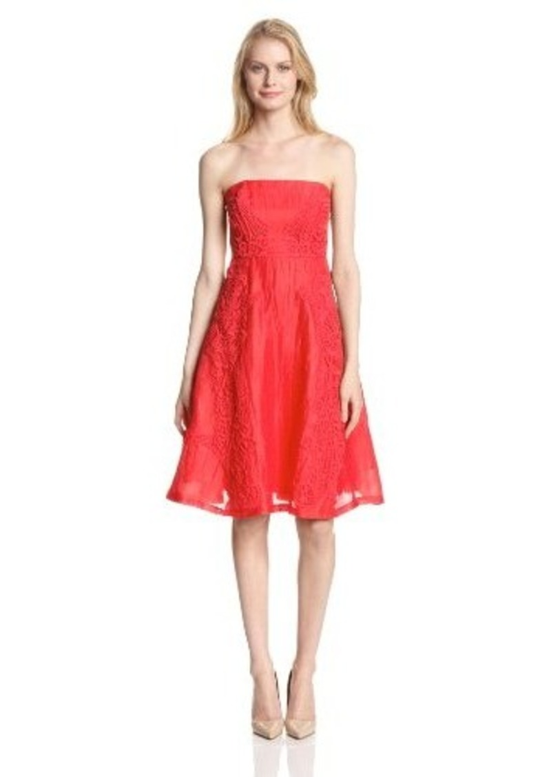Tracy Reese Women's Lace Applique Linen Fit and Flare Strapless Dress, Persimmon, 2