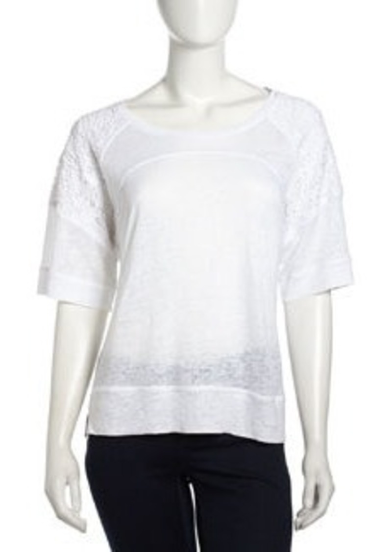 Laundry by Shelli Segal Lace-Sleeve Raglan Linen Top, Optic White