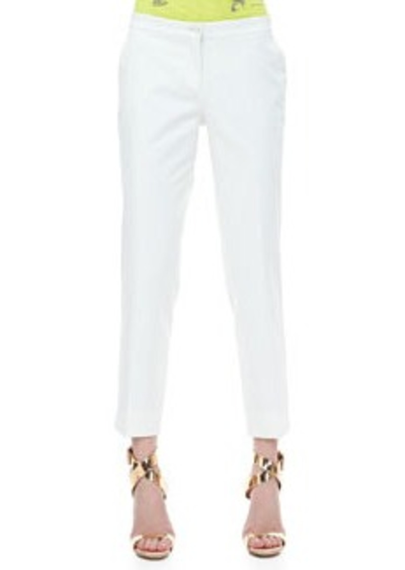 Etro Front-Closure Ankle Pants, White   Front-Closure Ankle Pants, White