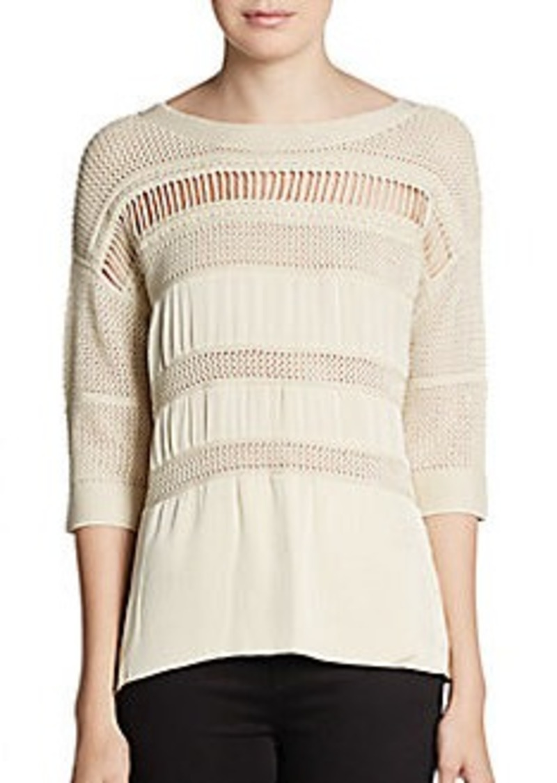 Catherine Malandrino Avery Mixed-Knit Satin Top