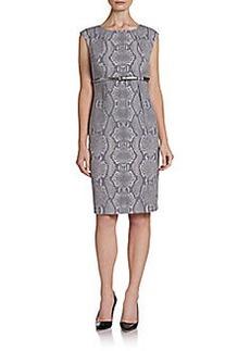 Calvin Klein Snakeskin Print Belted Sheath Dress