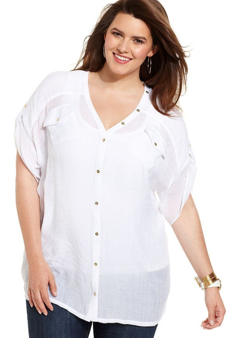 Alfani Plus Size Short-Sleeve Button-Back Top