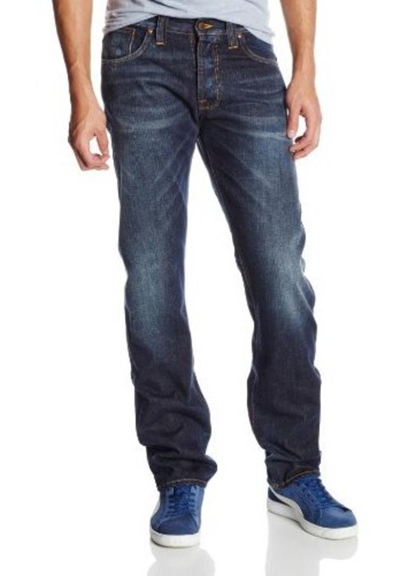 nudie jeans nudie jeans men 39 s straight alf regular straight fit jean in contrast indigo jeans. Black Bedroom Furniture Sets. Home Design Ideas