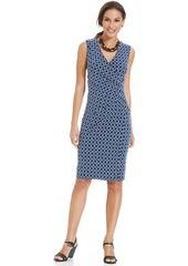 Charter Club Petite Sleeveless Printed Faux-Wrap Dress