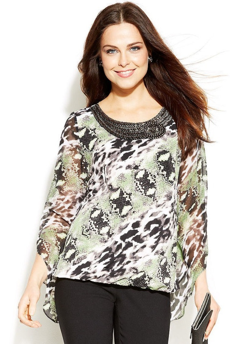 Alfani Petite Printed Beaded Bubble-Hem Top