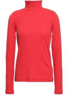 Each X Other Woman Appliquéd Ribbed Stretch-cotton Turtleneck Top Papaya