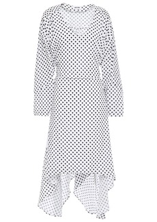 Each X Other Woman Asymmetric Belted Polka-dot Crepe De Chine Dress Off-white