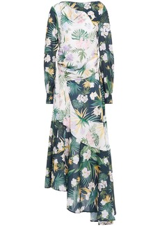 Each X Other Woman Asymmetric Draped Floral-print Crepe De Chine Midi Dress Dark Green
