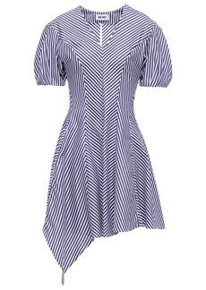 Each X Other Woman Asymmetric Pleated Striped Cotton-poplin Mini Dress Navy