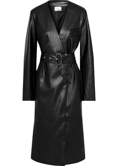 Each X Other Woman Belted Faux Leather Coat Black