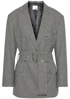 Each X Other Woman Belted Houndstooth Wool Jacket Black