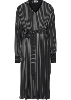 Each X Other Woman Belted Pleated Pinstriped Crepe De Chine Dress Black