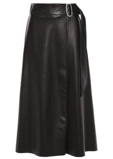 Each X Other Woman Buckled Faux Leather Midi Wrap Skirt Black