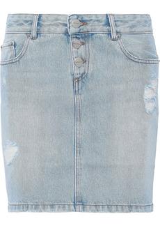 Each X Other Woman Distressed Denim Mini Skirt Light Denim