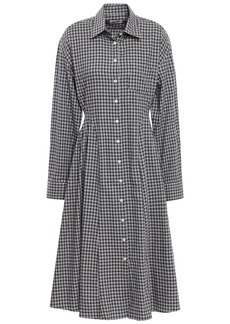 Each X Other Woman Pleated Gingham Cotton-flannel Shirt Dress Black