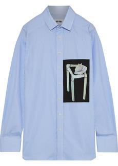 Each X Other Woman Printed Striped Cotton-poplin Shirt Sky Blue
