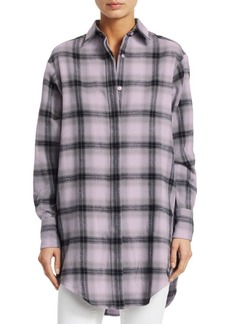 Each x Other Flannel Check Graphic Blouse