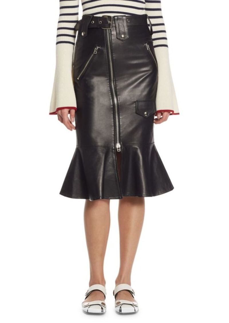 18775a7b7fb1 SALE! Each x Other Flared Leather Biker Skirt
