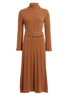 Each x Other Rib-Knit Cashmere & Merino Wool Turtleneck Belted A-Line Midi Dress