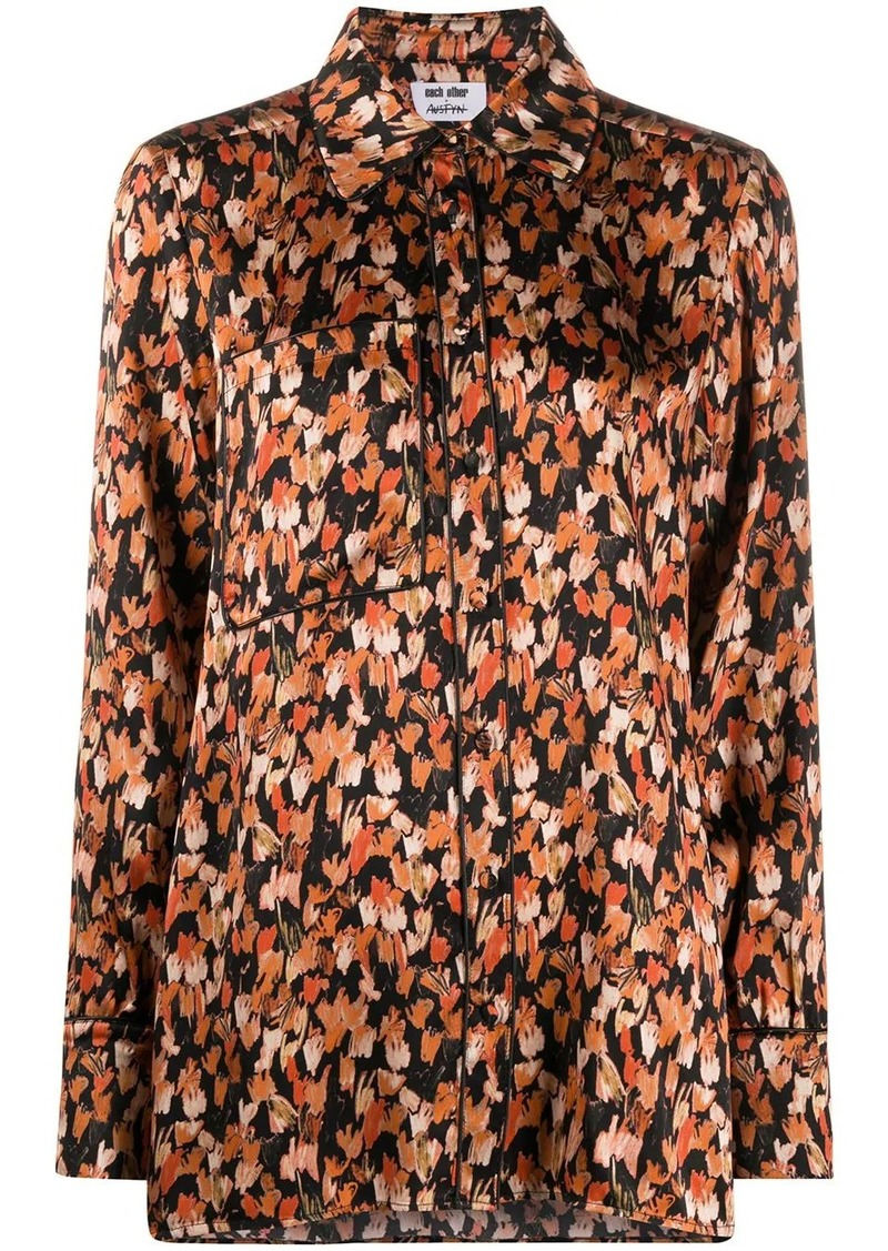 Each x Other silk abstract print blouse