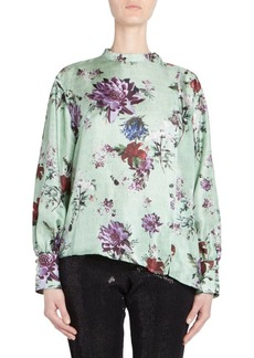Each x Other Silk Floral Printed Asymmetric Blouse