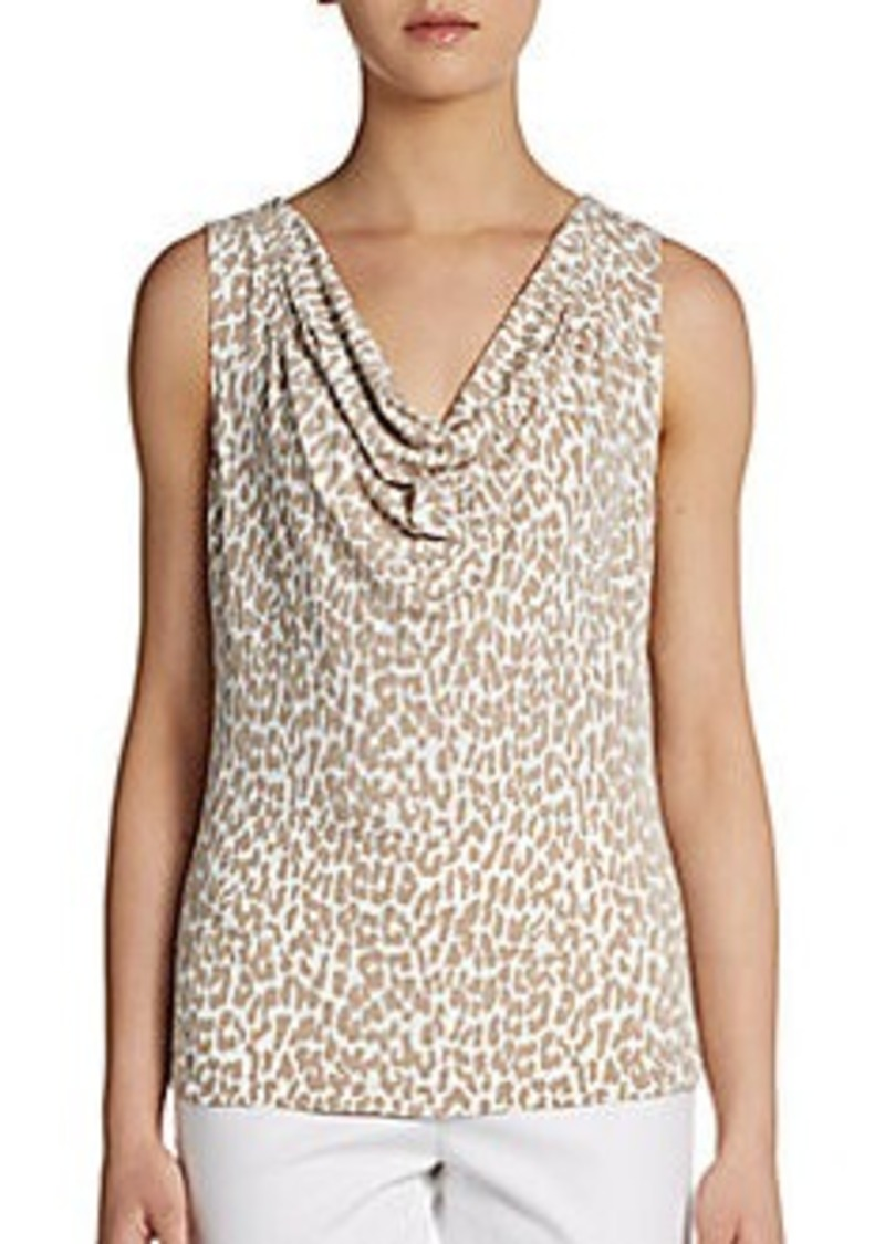 Calvin Klein Cheetah Print Cowlneck Blouse