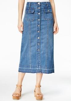 Earl Jeans Button-Front Midi Denim Skirt