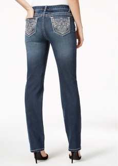 Earl Jeans Embellished Dark Wash Straight-Leg Jeans
