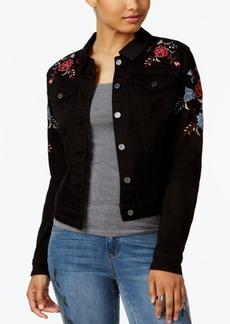 Earl Jeans Embroidered Black Denim Jacket