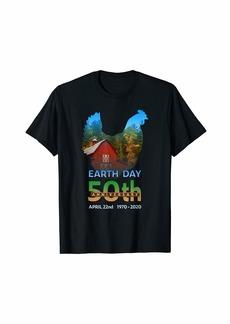 Earth Day 50th Anniversary Hen Chicken Farm Silhouette Gift T-Shirt