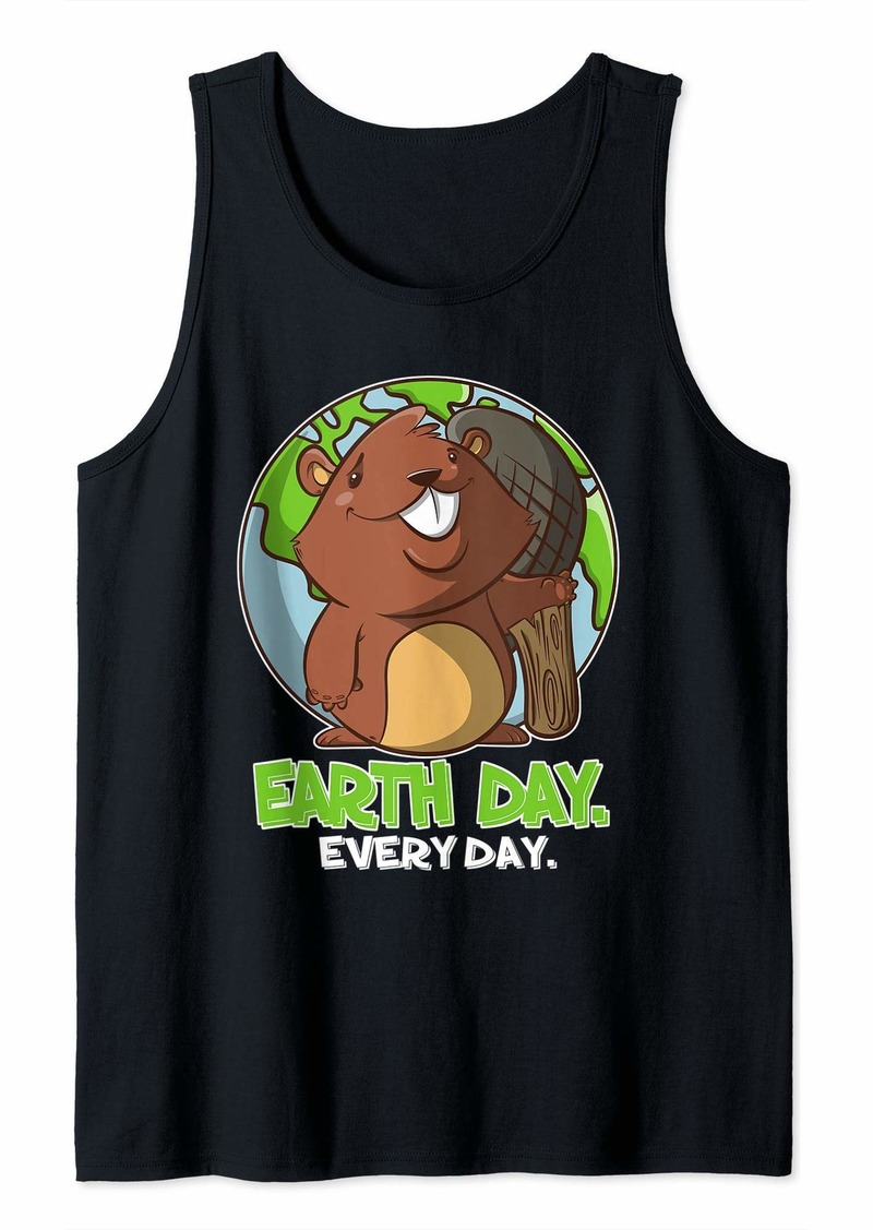 Earth Day Every Day Cute Planet and Beaver Tank Top