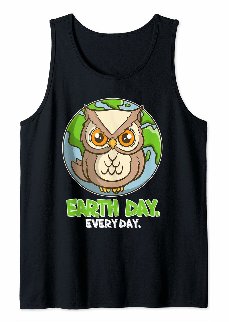 Earth Day Every Day Cute Planet and Owl Tank Top