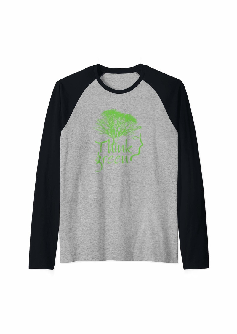 Earth Day Think Green Cool  Raglan Baseball Tee