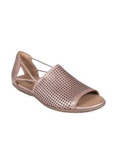 Earth Shelly Perforated Cutout Leather Sandals