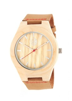 Earth Wood Aztec Leather-Band Watch Khaki 43Mm