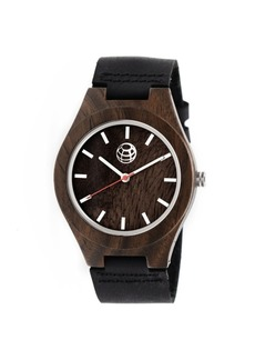 Earth Wood Aztec Leather-Band Watch Olive 43Mm