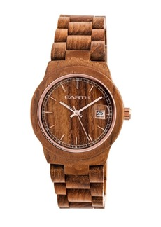 Earth Wood Biscayne Wood Bracelet Watch W/Date Brown 38Mm
