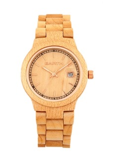 Earth Wood Biscayne Wood Bracelet Watch W/Date Khaki 38Mm