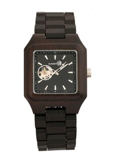 Earth Wood Black Rock Automatic Wood Bracelet Watch Brown 42Mm